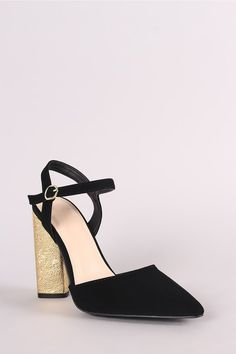 This lovely heel features a pointy toe silhouette, single sole pump, scooped vamp, an open heel counter, and a chunky textured metallic heel. Pump Shoes, Pumps, Metallic Heels, Leather Men, Wedges, Ankle, Womens Fashion, Toe, Wall Plug