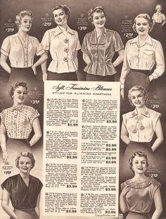 Spring and Summer 1955 Lane Bryant Lily Elsie, Blouse Vintage, Vintage Dresses, Vintage Outfits, 1950s Dresses, Mini Dresses, Ball Dresses, Vintage Clothing, Vintage Fall