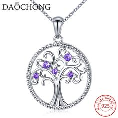 Fashion Women Jewelry S925 Silver Circle Shaped Life of Tree Design Pendant Necklace #silver jewelry # 925 silver # gift for mother/ gril friend# sterling silver necklace# silver necklace #necklace for women