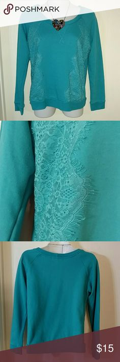 Francesca's Side Lace Sweatshirt (S) - Francesca's Free sweatshirt - bright teal- blue color - lace up both sides - long sleeves - bust: 18 inches - length: 22 inches - sleeve: 21 inches  No trades. No modeling. No PayPal.  60% cotton, 40% polyester Francesca's Collections Tops Sweatshirts & Hoodies