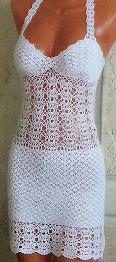 Crochet Wedding Dress Pattern, Crochet Beach Dress, Crochet Summer Dresses, Wedding Dress Patterns, Vestidos Halter, Little Girl Dresses, Crochet Clothes, Dress Making, Bikini
