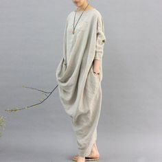 100% linen kaftan,extravagant long dress, holiday trip,women linen maxi dress, asymmetry robe dress