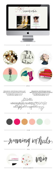 Like the colour palette. Running in Heels - Blog Design - Brand Elements - by Pinegate Road