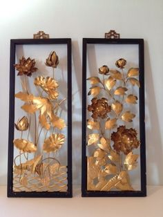 Vintage Metal Wall Art pair vintage mid century asian cut metal floral wall hangings art