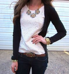 J Crew Silver Sequined Tank with statement necklace