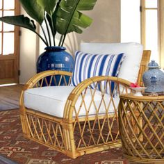 Stuart Membery Home - THE BEACHCOMBER CLUB CHAIR - Reminiscent of a bygone era, this over-scaled rattan club chair is contemporary interpretation of refined island-living ..