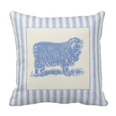 French Farmyard Sheep with Tickin Pillows