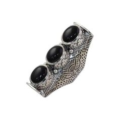 NOVICA Hand Made Multi-Stone Onyx Sterling Silver Ring from India (5,200 INR) ❤ liked on Polyvore featuring jewelry, rings, multi-stone, onyx, sterling silver leaf ring, 3 stone ring, multi stone ring, leaves ring and sterling silver onyx ring