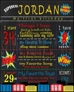 First Birthday Super Hero Chalkboard Poster by SelviePartyPrints
