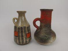 Vintage Set of two Vases - Carstens - Strehla / Mid century -  German Pottery / Vintage Vase - Fat lava - Vasen-Set von ShabbRockRepublic auf Etsy