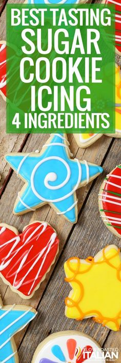 Best Tasting Sugar Cookie Icing - 4 ingredients and 5 minutes! People have been begging for this frosting recipe for years. Sugar Cookie Frosting, Sugar Cookies Recipe, Yummy Cookies, Cupcake Cookies, Cupcakes, Icing Frosting, Frosting Recipes, Best Royal Icing Recipe, Cupcake Recipes From Scratch