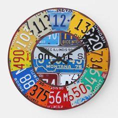 License Plate Clock Vintage Numbers Car Tag Art | Zazzle.com License Plate Crafts, Old License Plates, License Plate Art, License Plate Ideas, Licence Plates, Clock Vintage, Vintage Metal, Vintage Cars, Car Tags