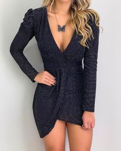 Cutout Back Bishop Sleeve Floral Bodycon Dress Pattern Fashion, Sleeve Styles, Dress To Impress, Ideias Fashion, Party Dress, Bodycon Dress, Outfits, Clothes For Women, Moda Online