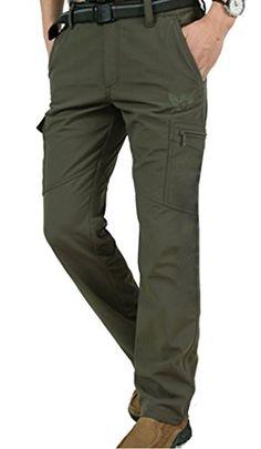 e3d10d18ce0 Amazon.com: Men's Fleece Lined Stretch Waist Outdoor Pants Army green W29  /Asian M: Clothing