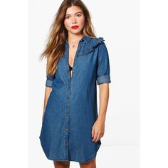 Boohoo Sophia Ruffle Denim Shirt Dress featuring polyvore women's fashion clothing dresses denim ruffle dress denim dress long shirt dress blue shirt dress blue denim dress