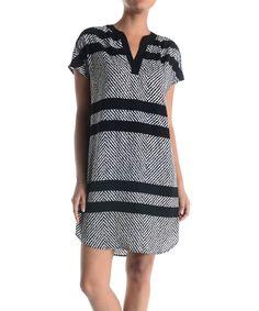 Adrienne Black & White Chevron Stripe Notch Neck Tunic by Adrienne #zulily #zulilyfinds