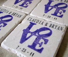 Personalized Purple Love Statue Wedding Favor Coasters - Set of 25
