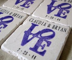 Coasters would make a great favor, that guests can put to good use long after the wedding day!