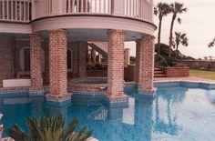 Old Carolina's Genuine Handmade Brick & Copings on Pool on Hilton Head Island, SC. www.handmadebrick.com
