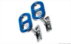 Hermes - Cassandre Cufflinks in Sterling   Silver and blue enamel.