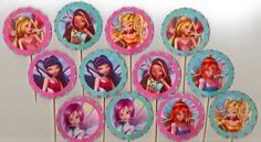 Winx Club Cupcake Toppers Set of 12 teal and pink birthday party food picks. $9.00, via Etsy.