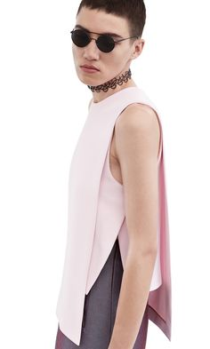 Acne Studios Gladis Crepe Pink Double layer shell top