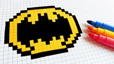 Handmade Pixel Art - How To Draw Old Logo Batman #pixelart