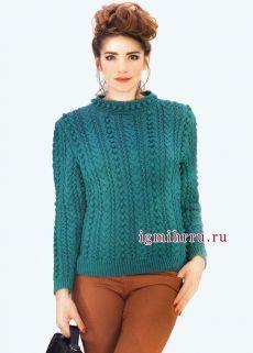 Эффектный бирюзовый пуловер с фантазийными узорами. Вязание спицами