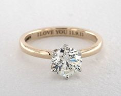 1.19 Carat K-IF Very Good Cut Round Diamond. 14K Yellow Gold Solitaire Engagement Ring 1965594