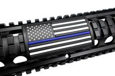 Custom Gun Rails American Flag Large PVC Grip (Thin Blue Line, Star Left)