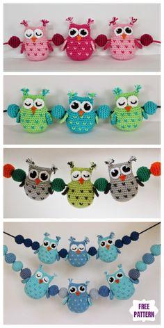 Owl Crochet Pattern Free, Crochet Toys Patterns, Amigurumi Patterns, Stuffed Toys Patterns, Free Crochet, Free Pattern, Crochet Owl Basket, Crochet Owls, Crochet Crafts