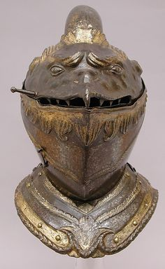 """vikingsgonnapillage: """" """" Helmet """" Date: circa 1550 Medium: Embossed and partly gilt and silvered steel Culture: •  """" Italian """" •  """" Milan """" •  """" or Brescia """" """""""