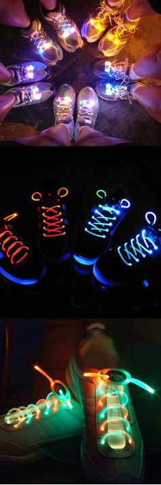 Light Up Your Shoelace. Give your night run a glow! Perfect for the glow run! Glow Run, Vestidos Neon, Electric Run, Silvester Party, Running Costumes, Relay For Life, Running Gear, Start Running, Running Shoes