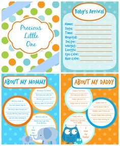 I thought it would be great fun to design individual baby book pages to match my nursery colors - as well as make it easy to just use information I wanted in there!