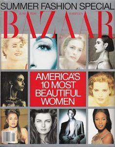 Magazines Update: Harper's Bazaar US June 1992 Laura Dern, Iman, Vanessa Williams, Anjelica Houston, Paulina Porizkova, Robin Wright, Debra Winger, Demi Moore, Geena Davis & Naomi Campell