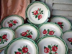 This listing is for a charming set of 6 french vintage stencil ware dinner size plates in a lovely green and red roses motif. They are made by Digoin