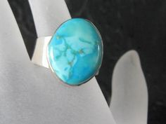 Sterling Silver and Turquoise Ring Moderne Style by AntiquesduJour