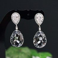 Silver NIght ( Dark Grey) Swarovski Crystal Bridesmaid earrings, party earrings from EarringsNation