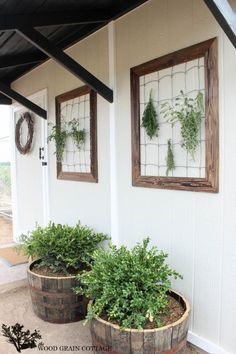 Herb drying frames on a Shed Makeover by The Wood Grain Cottage