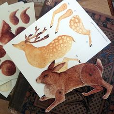 paper doll goodness in deer and rabbit form
