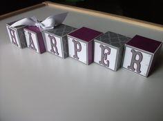 "Wooden Name Blocks - Baby Name Blocks - Gray Purple White - Pottery Barn ""Dahlia"" on Etsy, $5.00"