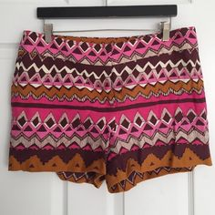 LOFT - Tribal Print Shorts BNWT! On-trend tribal pattern in bright pinks, and orange. Beaded detail. Zip, hook and eye closure. Back slip pockets. LOFT Shorts