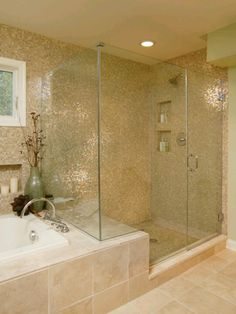 Stand Up Shower. Like the idea of leaving more room on shower side for ledge