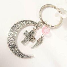 I loved making this dainty crescent moon keychain.  Great gift for her by EnchantedRoseShop on Etsy - link in bio.  #keychain #keycharm #caraccessories #enchantedroseshop #giftforher #giftformom #giftformyself #christiangifts # enchantedroseshop #etsysuccess #etsyhandmade #valleerose #etsyseller #etsystore #etsyUSA #etsysuccess #etsylove #etsyfinds #etsyshop #religiousgifts #crosskeychain #silverkeychain #etsyhome #etsygifts #etsysale #etsyforallchristmas #etsyforall…