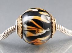 Fancy Tiger Lampwork and Sterling Cored European by LoriBergmann