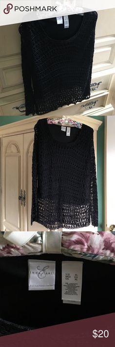 Black long sleeve crocheted shirt Pretty black crocheted top Emma James Tops Blouses