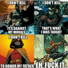 Deadpool knows how to live -that's the Red Hood a. Jason Todd, a former Robin. Not Deadpool. Not even Marvel Nightwing, Batgirl, Batwoman, Marvel Dc Comics, Marvel Fanart, Math Comics, Funny Comics, Tim Drake, Batman Y Superman