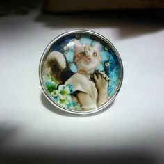 Blue Angel Cat Ring - Silver plated adjustable ring with one of The Clockwork Jewel's original digital collages on it. Size of image - 2.5cm x 2.5cm. £8.99