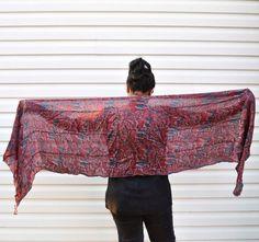 Silk Baagh - Plum, Burgundy, Brick Red, Hand Block Printed, naturally dyed, fun print silk scarf on Etsy, $55.00