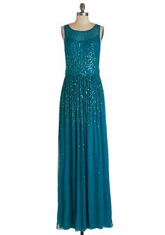 Glitz and Enamor Dress in Teal - Blue, Solid, Beads, Sequins, Special Occasion, Prom, Homecoming, Maxi, Sleeveless, Chiffon, Sheer, Woven, Best, Variation, Long, Scoop
